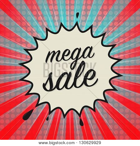 Comic book explosion with text Mega Sale, vector illustration