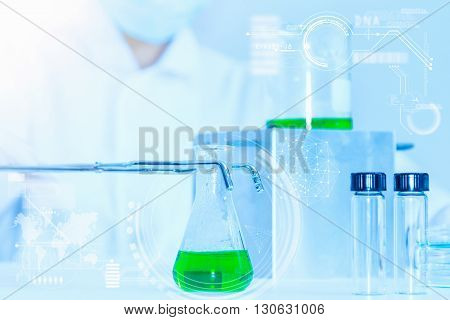 Laboratory Glassware Containing Chemical Liquid, Science Research.