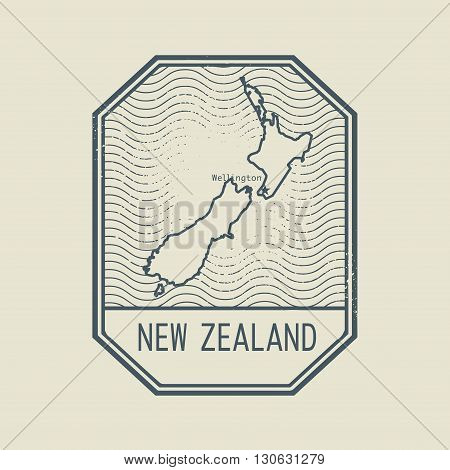 Stamp with the name and map of New Zealand, vector illustration