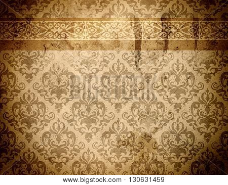 Old paper background with decorative vintage border and ornament. Vintage paper texture for the design.