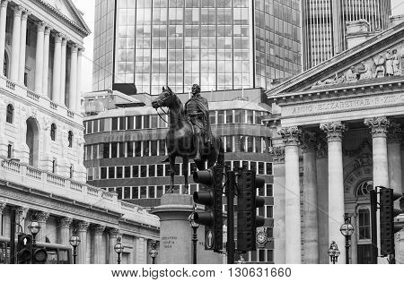 LONDON, UK - OCTOBER 14, 2015. Bank of England, view from the square