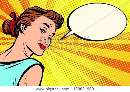 Beautiful retro girl asks pop art retro vector. a woman communicates. Comic text bubble