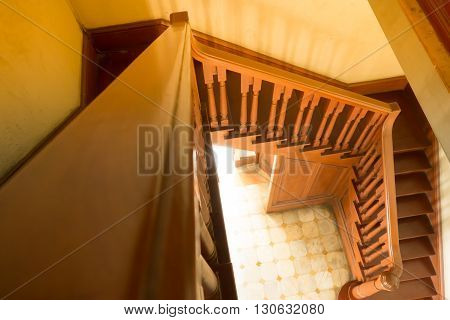 The Vintage Wood Stair With Sun Light