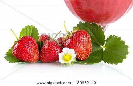 Cropped View Of Strawberries With Goblet,leaves,flower On White