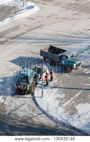Volgograd, Russia - February 05 2012: Snow removal