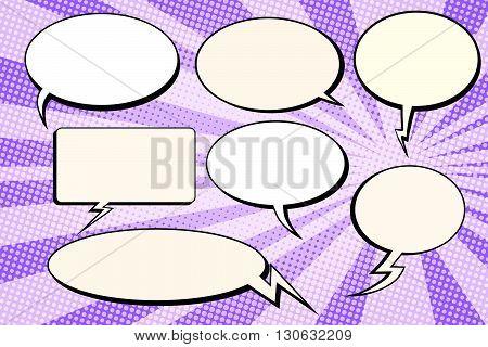 Set of vector bubbles comic text pop art retro vector