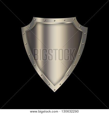Medieval shield with riveted border on black background.