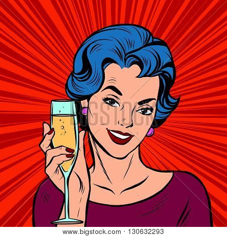 Toast girl party red retro background pop art retro vector. Birthday and anniversary. Alcoholic beverage. Vector toast