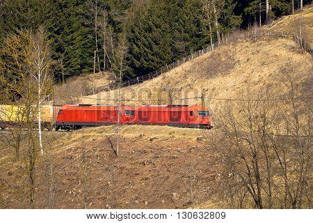 Austrian railways OBB train in nature Carinthia Austria