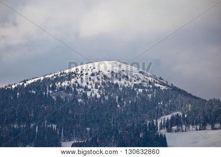 Snowy peak in Austrian Alps winter view