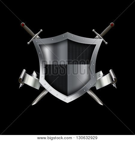 Silver shield with elegant silver ribbon and two swords on black background.