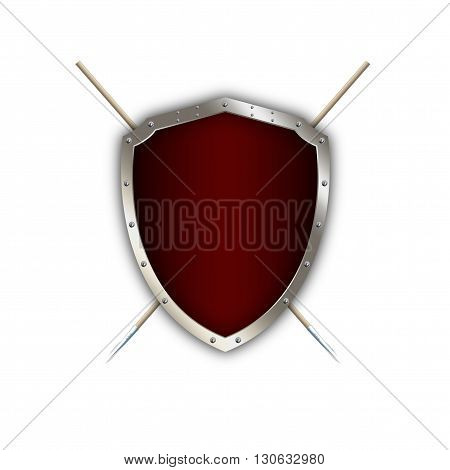 Silver shield with riveted border and two spears on white background.