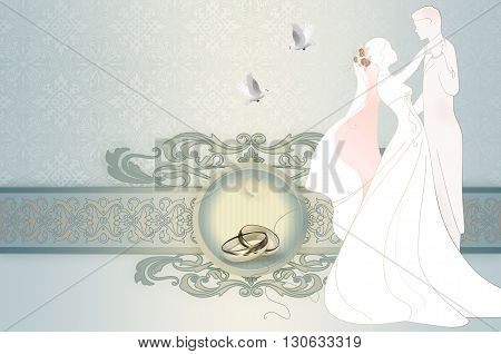 Decorative and elegant wedding background with decorative border and framevintage patterns and silhouette of newlyweds.