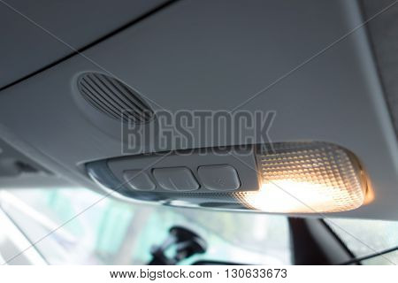 Car Interior ; Close Up Of Cabin Lights Switch