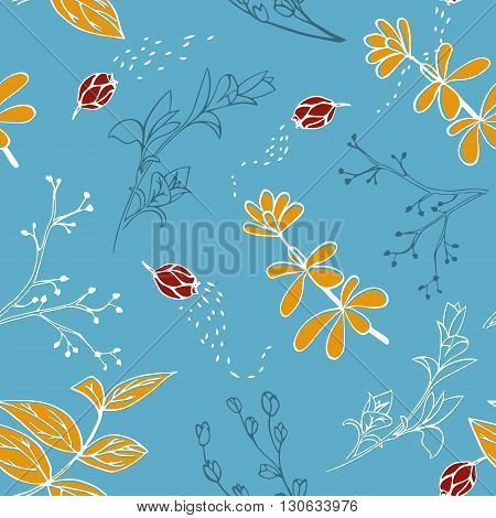 Vector seamless pattern with hand drawn herbs. Colorful background textile design.