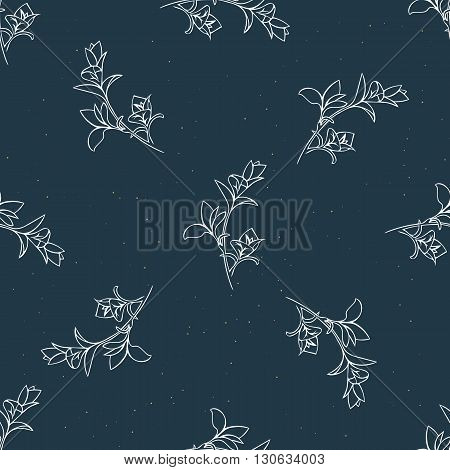 Seamless vector background. Floral pattern in dark blue color with hand drawn branches and gold dots.