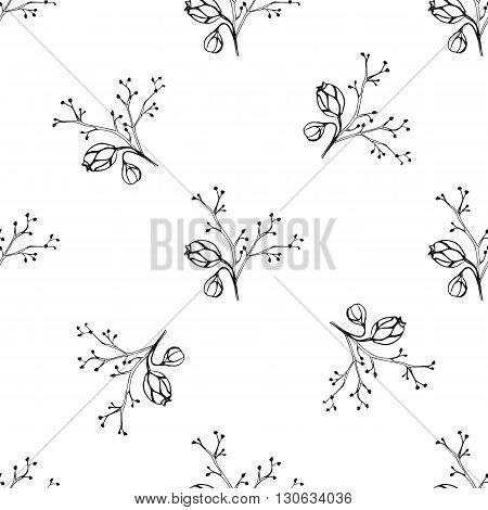 Vector seamless pattern with ink hand drawn herbs. Vintage botanical background. Textile design