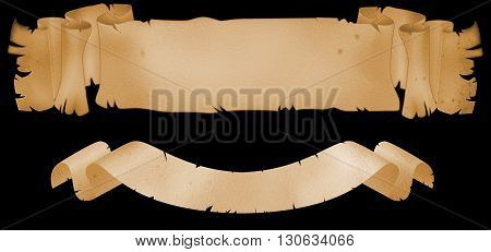Two antique scrolls of parchment on black background.