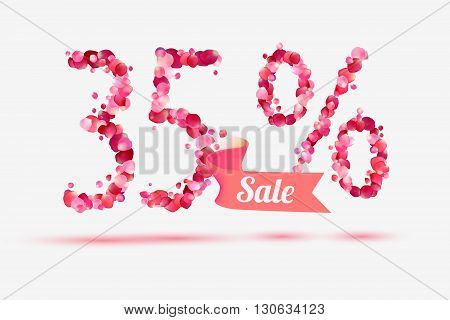 thirty five (35) percents sale. Vector digits of pink rose petals