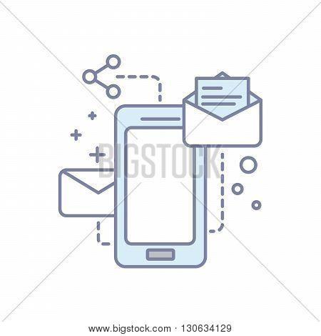 Modern background mobile services. sending mail. Line isolated illustration.