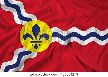Waving Flag of St. Louis Missouri, with beautiful satin background