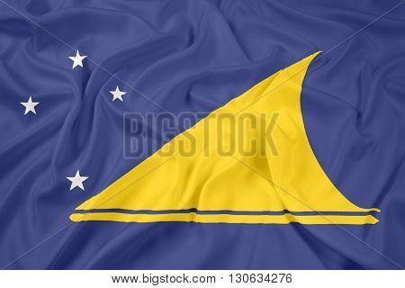 Waving Flag of Tokelau, with beautiful satin background