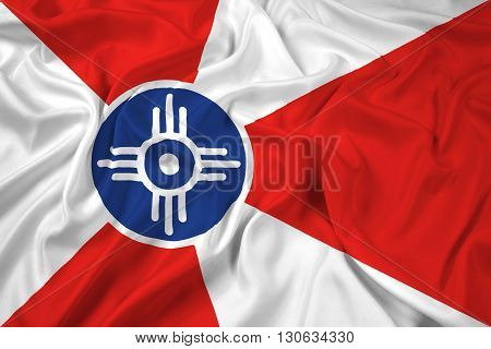 Waving Flag of Wichita Kansas, with beautiful satin background