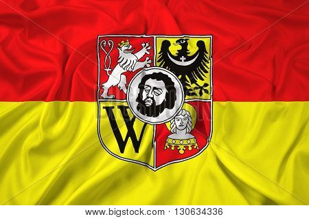 Waving Flag of Wroclaw with Coat of Arms Poland