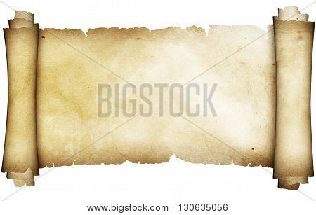 Ancient parchment scroll. Isolated on white background.