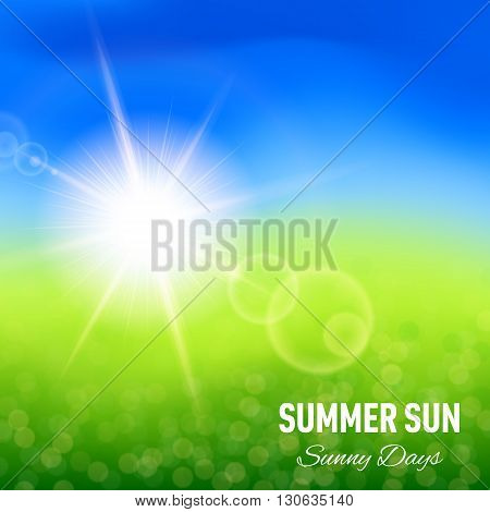 Blurred summer background with glaring sun for your design