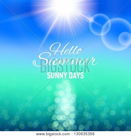 Defocused background with sun and sea for your summer design