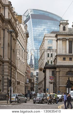 LONDON, UK - OCTOBER 14, 2015. Walkie-Talkie office block building view from the Bank of England street