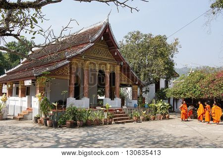 LUANG PROBING, LAOS - FEBRUARY 10, 2016: Wat Sop Sickharam, one of the temples in Luang Prabang on February 10, 2016 in Laos, Asia