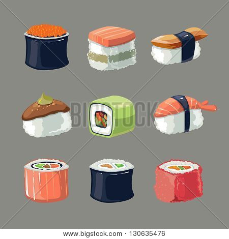 Vector picture set of Sushi rolls food and japanese sea food. Sushi illustration set with flat color. Sushi icons isolate on dark background
