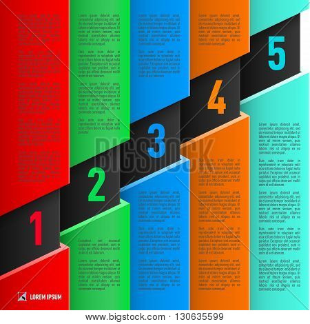 Infographics in paper style with colorful sheets and numbered items from one to five