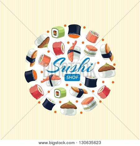 Sushi rolls flat food and  japanese seafood sushi rolls. Sushi rolls traditional seaweed fresh raw food. background vector picture of round shape
