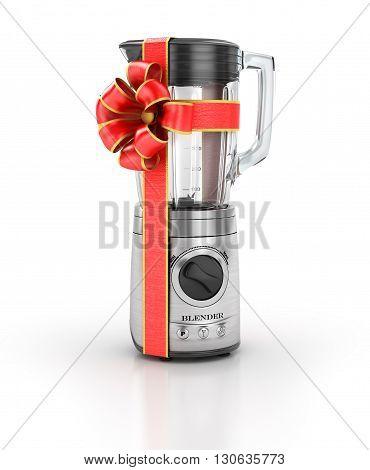 Kitchen appliances. Blender in gift ribbon. 3d illustration