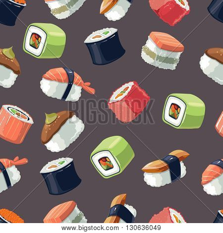 Seamless Pattern with Vector picture set of Sushi rolls food and japanese sea food. Sushi illustration set with flat color. Sushi icons isolate on dark background