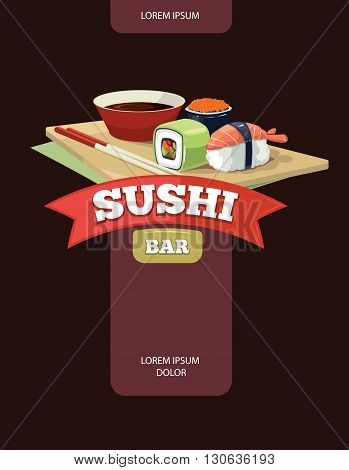 Vector poster of Sushi rolls food and japanese sea food. Sushi illustration with flat color. Sushi illustration isolate on dark background