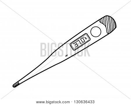 Digital Thermometer, a hand drawn vector doodle illustration of a digital thermometer.