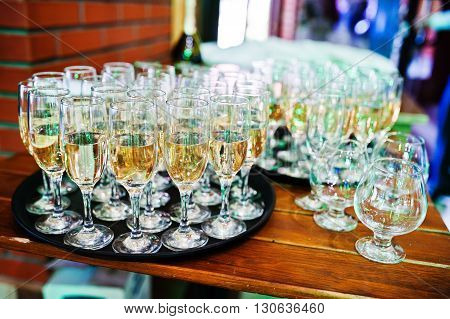 Elegance Wedding Reception. Table With Glasses Of Champagne