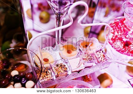 Elegance Wedding Reception Table With Food And Decor. Sweet Cackes