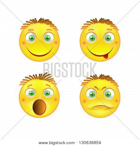 Set emotional emoticons in yellow colors. Vector illustration of smiles.