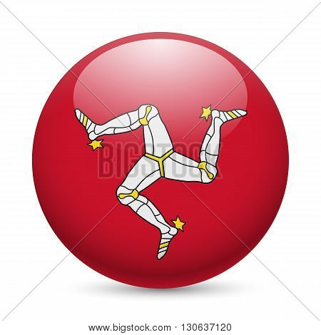 Flag of Isle of Man as round glossy icon. Button with flag design