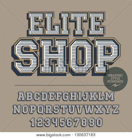 Retro styled set of alphabet letters, numbers and punctuation symbols. Vintage emblem with text Elite shop