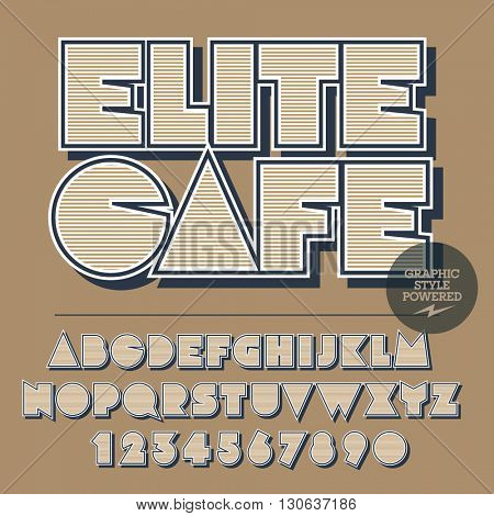 Retro styled set of alphabet letters, numbers and punctuation symbols. Vintage logo with text Elite cafe