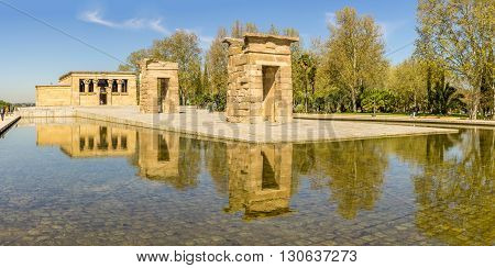 MADRID,SPAIN - APRIL 25,2016 - Panoramic view at the Temple of Debod. Temple of Debod is an ancient Egyptian temple which was dismantled and rebuilt in Madrid.