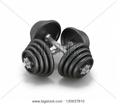 Two black steel dumbbells isolated white background.3D illustration