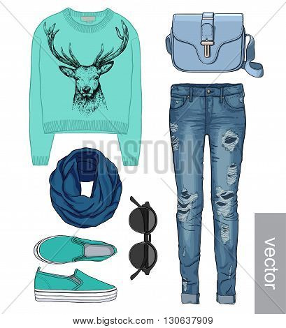 Lady fashion set of autumn, winter season outfit. Illustration stylish and trendy clothing. Denim, slip-on, jeans, bag. Paradise, tropical, exotic flamingo. Vector
