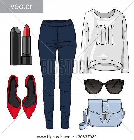 Lady fashion set of autumn, spring season outfit. Illustration stylish and trendy clothing. Denim, glasses, sweatshirt, shoes high heels. Vector